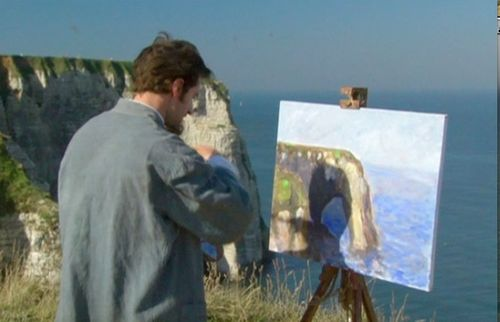 Monet on top of cliff