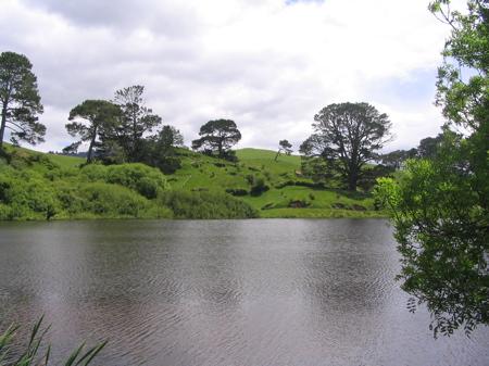 View of Hobbiton over lake